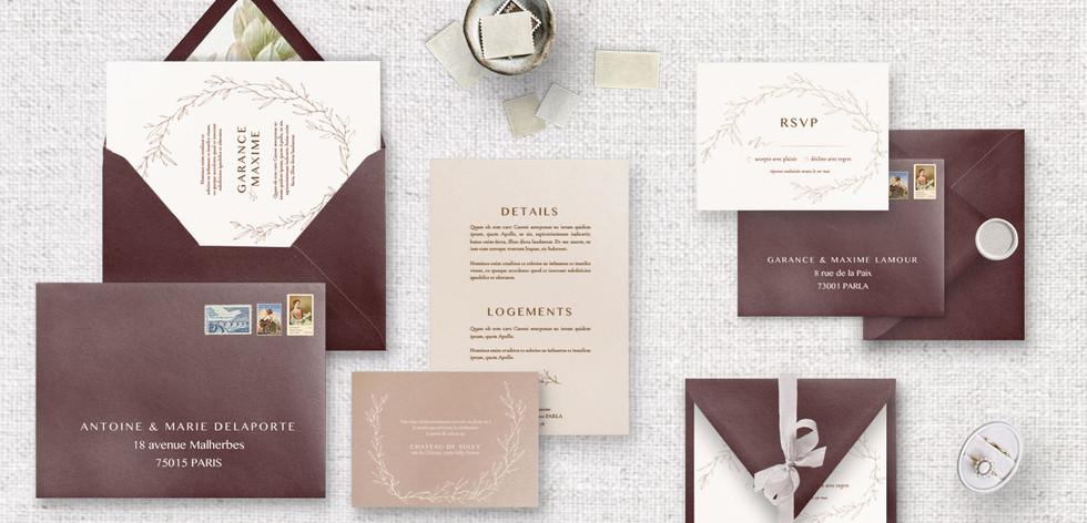 Set 3 : Invitation + RSVP + Invitation diner/brunch + Détails + enveloppes assorties