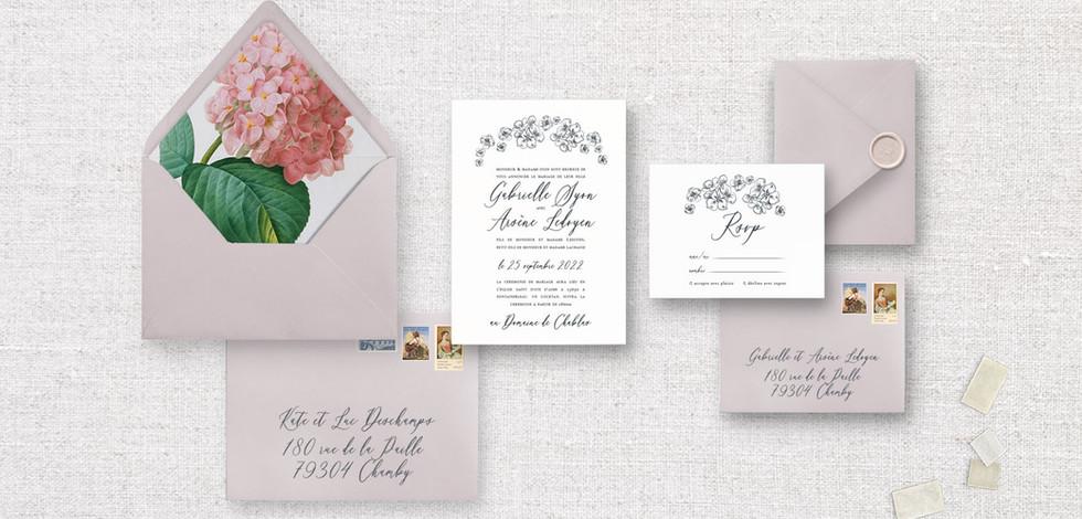 Set 4 pièces : Invitation + RSVP + enveloppes assorties