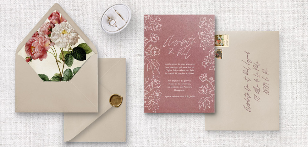 Set 1 : Invitation + enveloppe assortie