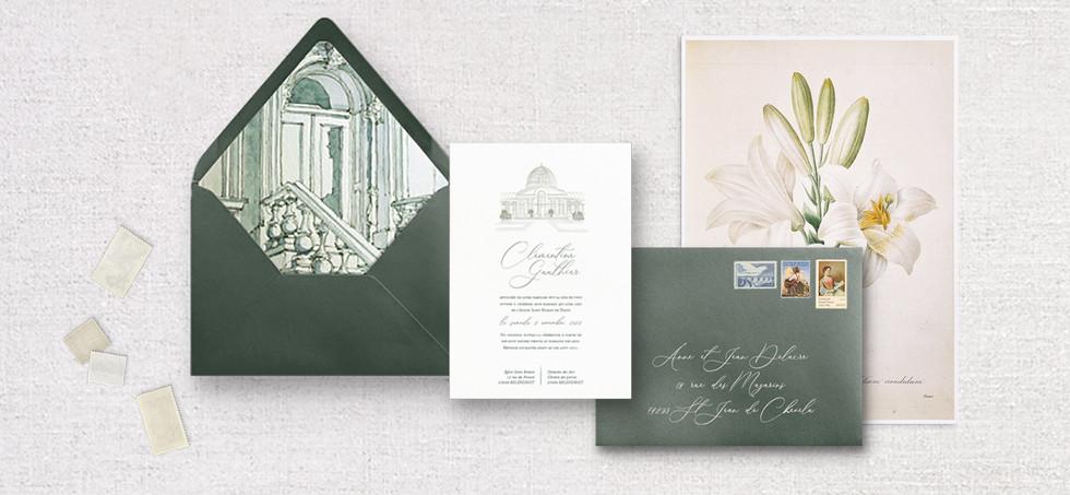 Set 2 pièces : Invitation + enveloppe assortie