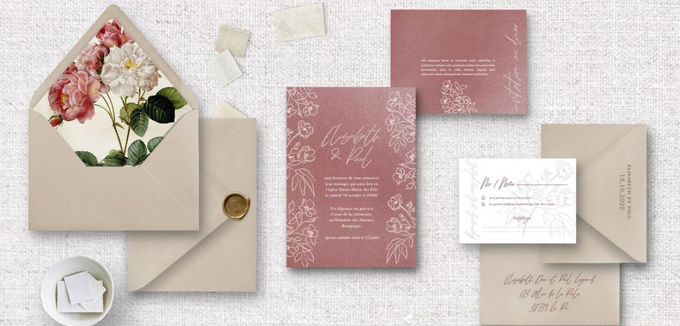 Set 3 : Invitation + RSVP + invitation au diner/brunch + enveloppes assorties