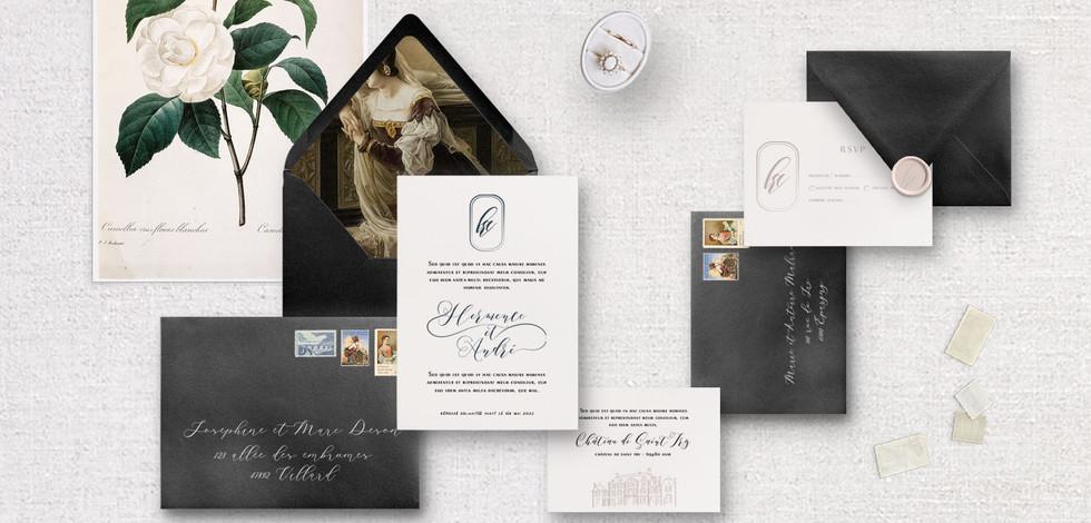 Set 5 pièces : Invitation + RSVP + Invitation au diner/brunch + enveloppes assorties