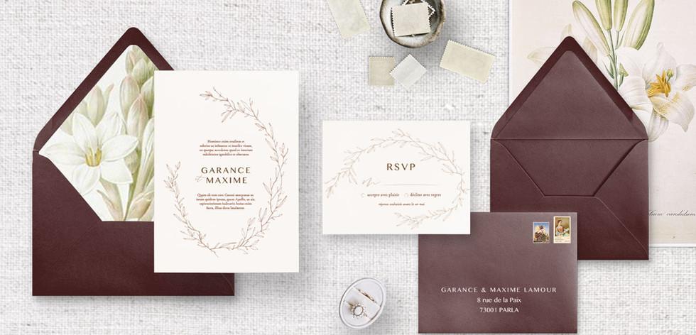 Set 2 : Invitation + RSVP + enveloppes assorties