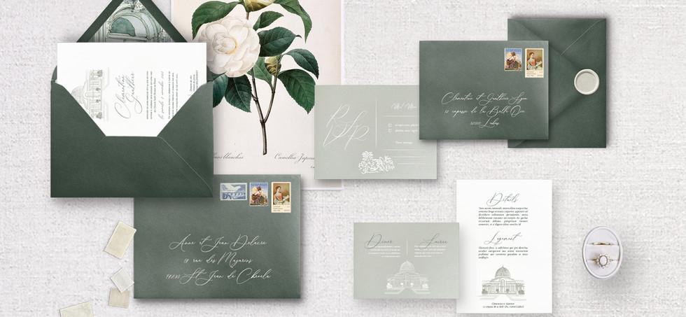 Set 6 pièces - Invitation + RSVP + Invitation diner/brunch + Détails + enveloppes assorties