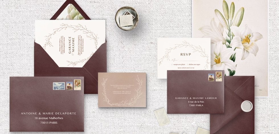 Set 3 : Invitation + RSVP + Invitation diner/brunch + enveloppe assorties