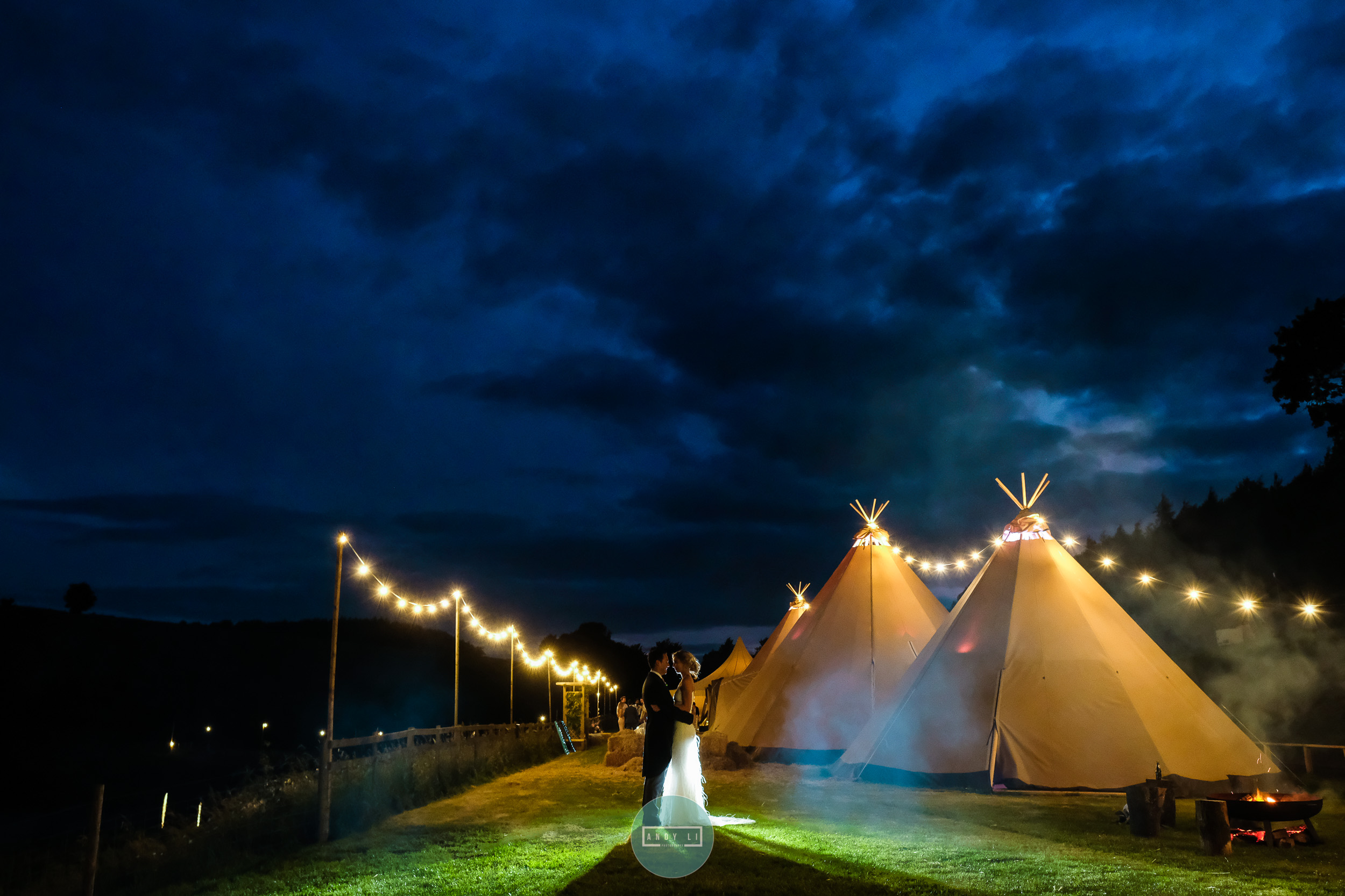 Tipi Wedding at Night