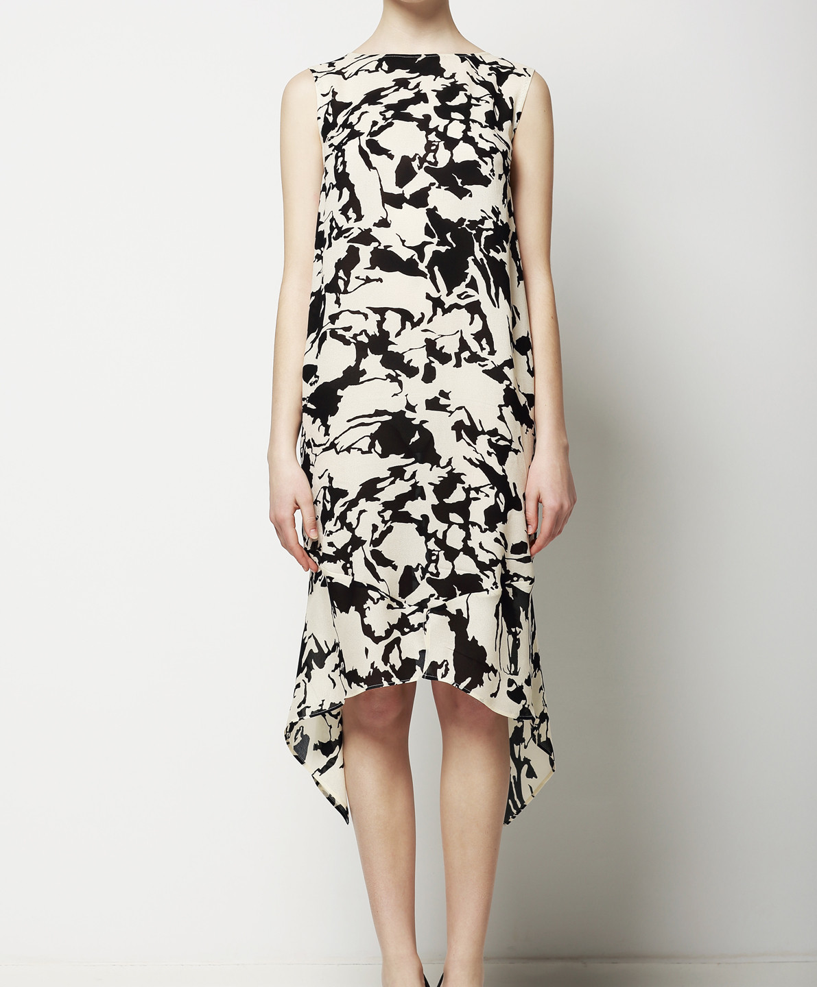 Black and White Abstract Print Dress