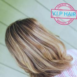 Hair Colour Hilites Lob cut