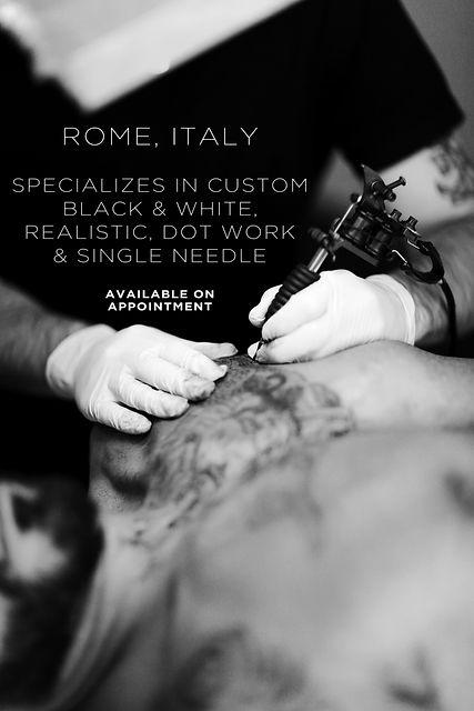 rome roma italy italia specializzato in tatuaggi personalizzati bianco e nero realistico puntinato e linea sottile disponibile su appuntamento specializes in custom black and white realistic dotwork and single needle available on appointment