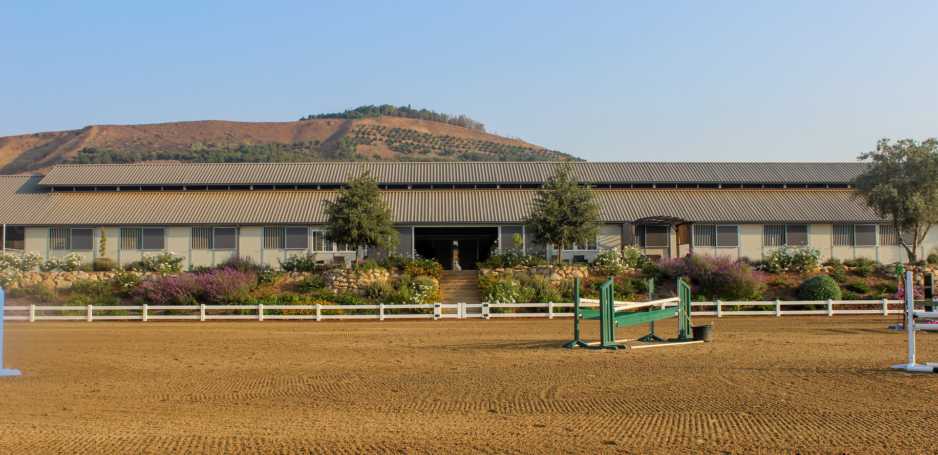 View of main barn from ring