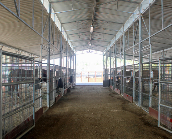 Upper barn with open stalls