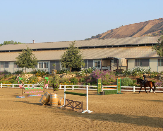 view of ring and barn