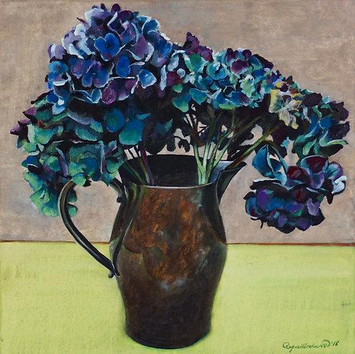 Blue Hydrangeas on Green Table