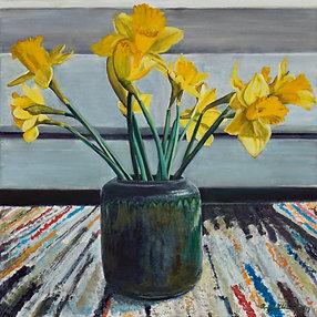 Daffodils on Stripe Rug