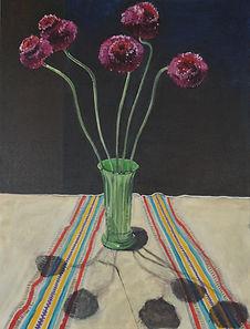 fuchsia ball flowers green vase strip cl