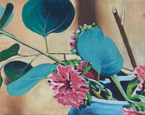Gingko Leaf, Pink Flower, Blue Pot