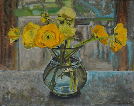 Yellow Ranunculus Glass Bowl