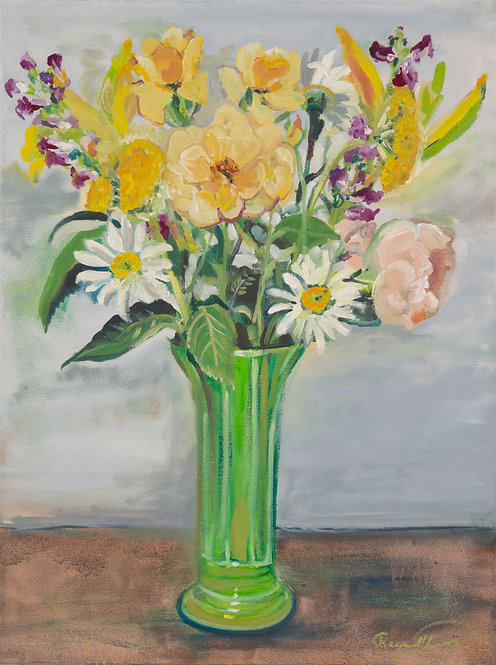 Daisies and Yellow Roses in Green Vase