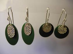 Anodised Aluminium and Silver Earrings