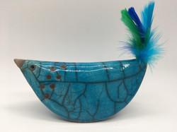 Blue Raku Bird feather