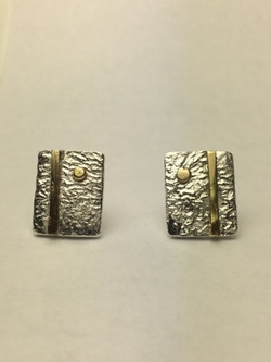 Silver Stud Earrings with Brass and 9ct