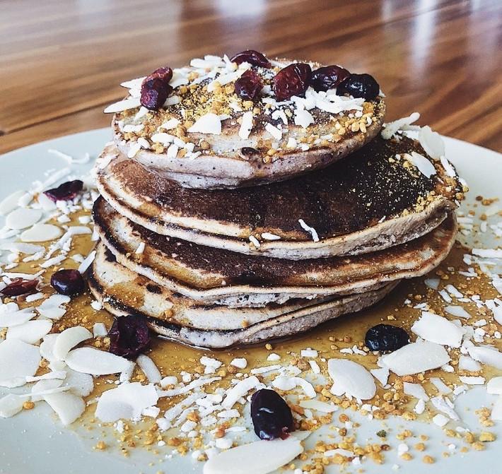 Pancakes de Mora Azul
