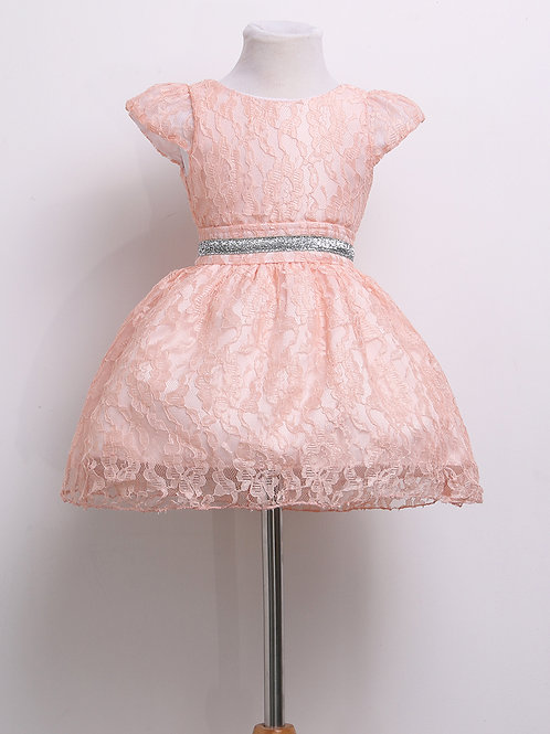 peach lace Girls Dress 1-2 WEEK DELIVERY