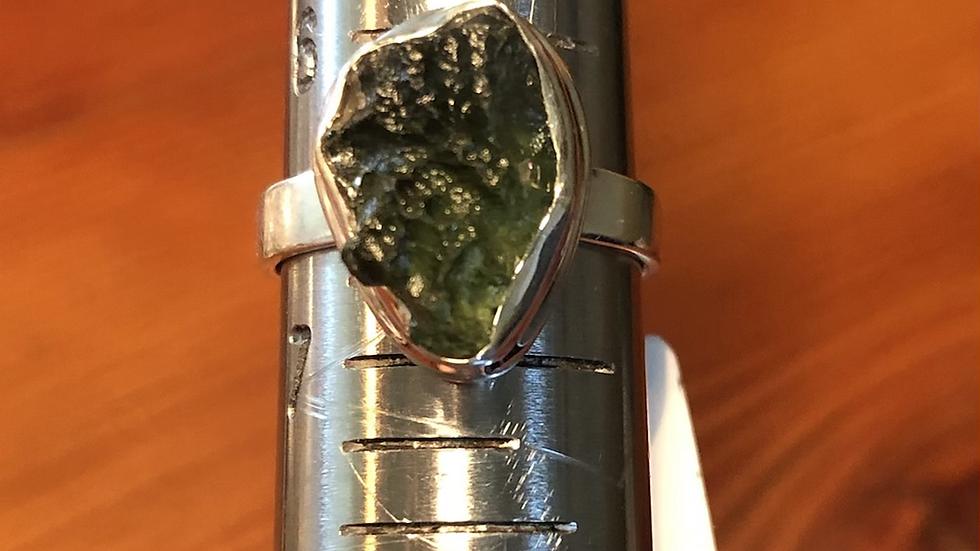 Moldavite Sterling Ring (6 3/4)