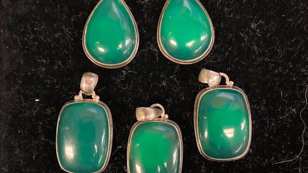 Green Chalcedony Pendant Sterling