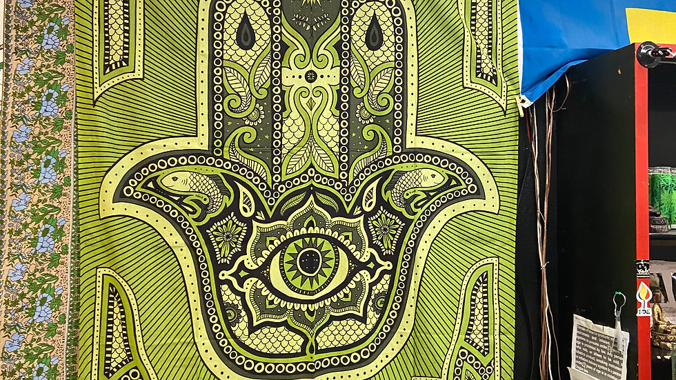 Green Hamsa Eye Tapestry