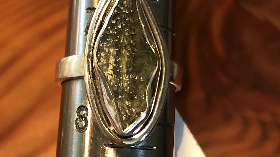 Moldavite Sterling Ring (7 1/2)