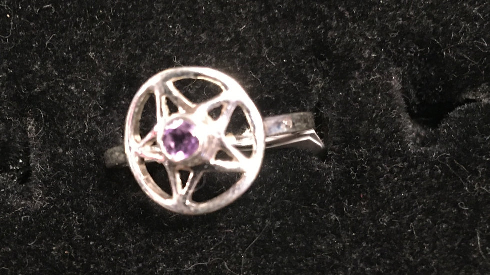 Pentacle Ring with Amethyst