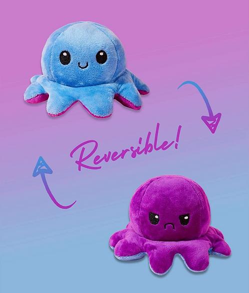 Cute Reversible Flip Plush Mood Octopus - Blue/Purple