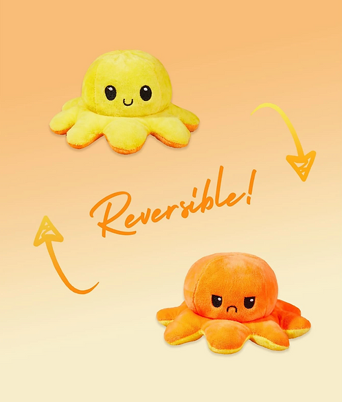 Cute Reversible Flip Plush Mood Octopus - Orange/Yellow