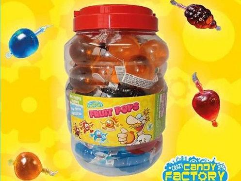 1x Full Jar Crazy Candy Factory Fruit Pops, Tik Tok Challenge (GF, V, VE)