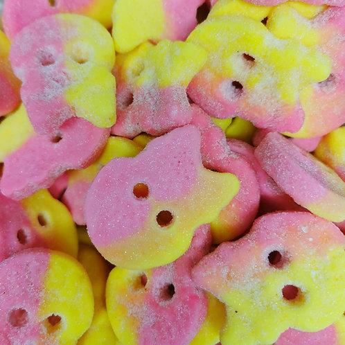 Bubs Raspberry/Lemon Sour Foam Skulls (V, VE, GF, DF, POF)