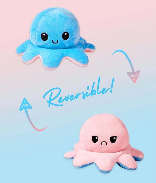 Cute Reversible Flip Plush Mood Octopus - Blue/Pink