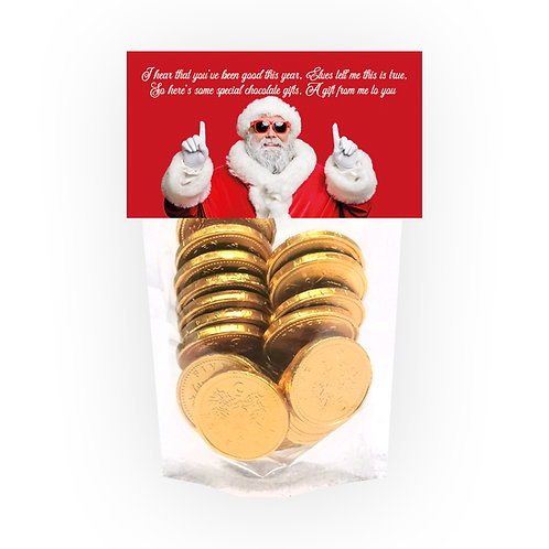 Santa Chocolate Coin Novelty Bag