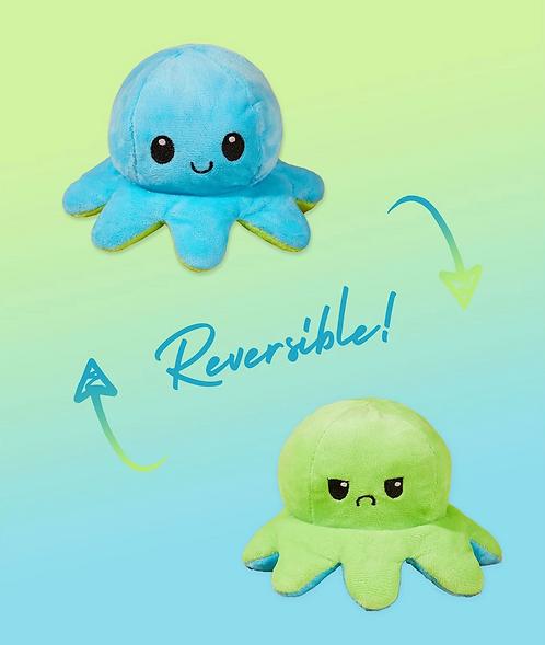 Cute Reversible Flip Plush Mood Octopus - Blue/Green