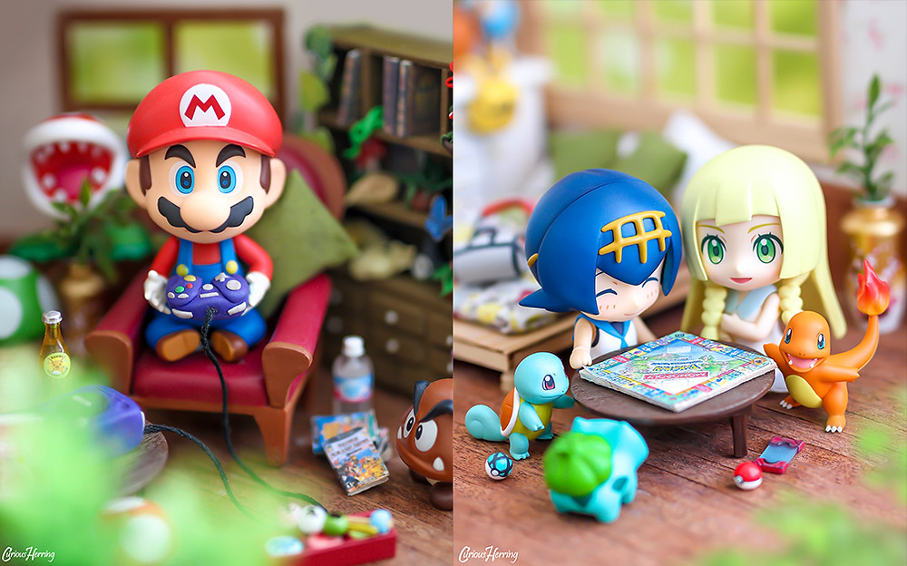 On the left, Nintendo Mario Nendoroid photography with DIY miniature Gamecube made from Fimo. Mario plays Super Smash Brothers and gets gamer rage. In the right photograph Pokemon Nendoroid Lana and Lillie play miniature DIY Monopoly on a girly night in with their pokemon, Squirtle, Bulbasaur and Charmander. Toy and Nendoroid photography by CuriousHerring (Curious Herring Photography)