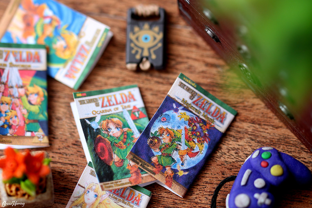 Miniature paper craft legend of zelda manga books used for toy photography or doll house crafting
