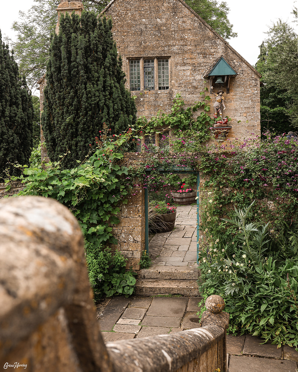 Walls and architecture of Snowshill Manor in the Cotswolds.