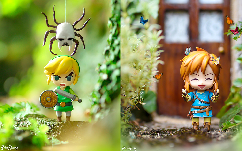 Toy and Nendoroid Photography, Wind Waker Link and Breath of the Wild Link from Zelda. Link plays with the butterflies in the photo on the right, and WW Link fights the Skulltula in the image on the left. Both images focus on DIY Miniatures and dollhouse miniatures. Photos by CuriousHerring (Curious Herring Photography)