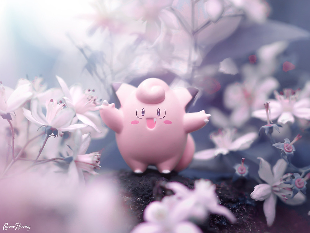 Clefairy Pokemon Figure from Nendoroid Lillie Dancing in the magical woods.
