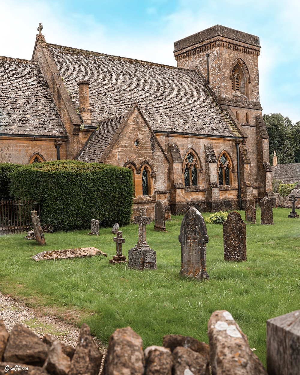 The Victorian St. Barnabas church nestled in the heart of Snowshill, Cotswolds
