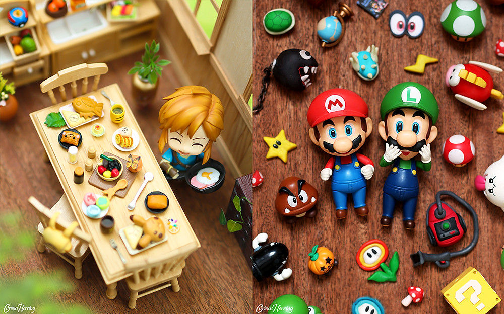 Top Down Toy and Nendoroid photography featuring Nintendo Nendoroids. Zelda Breath of the Wild Link Nendoroid cooks breakfast for Hyrule, and Mario and Luigi Nendoroid Lay down with all the super mario world items. Nintendo Nendoroid Photography by CuriousHerring (Curious Herring Photography)