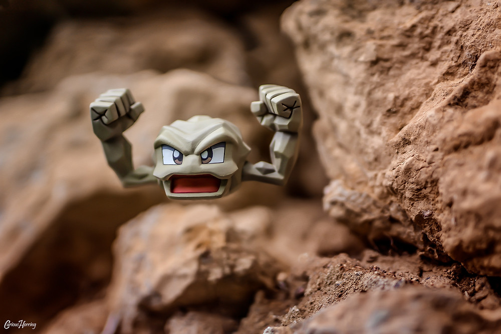 Toy Photography by CuriousHerring of Geodude from Pokemon. This Geodude figure is from the G.E.M Brock Pokemon series