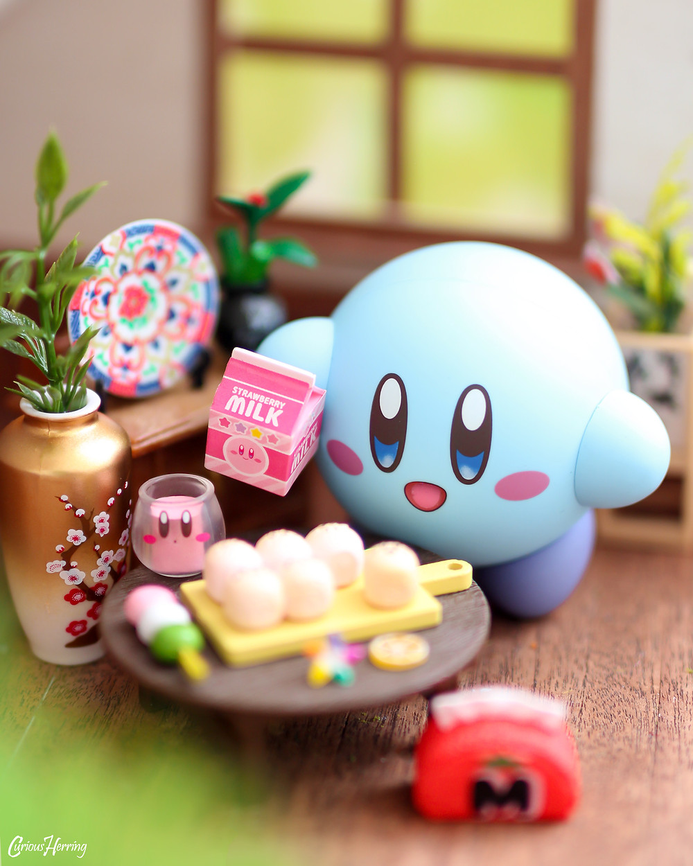Nintendo Nendoroid Kirby pouring Re-ment Kirby Milk. Toy photography by CuriousHerring (Curious Herring Photography)