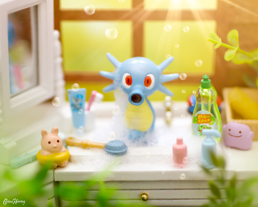 Toy Photography by CuriousHerring of Horsea from Pokemon. Curious Life of Pokemon, Horsea takes a bath in the kitchen sink whilst Ash is out of town.