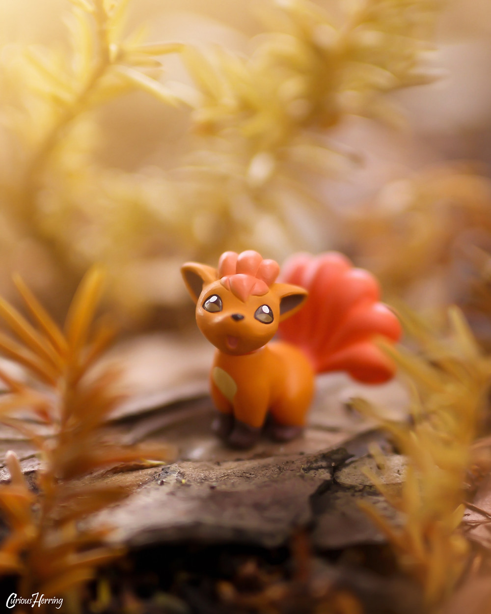 Toy Photography of Vulpix Pokemon from G.E.M Pokemon Series.
